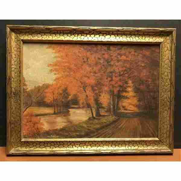 Wonderful Vintage Antique Autumn Landscape Oil Painting
