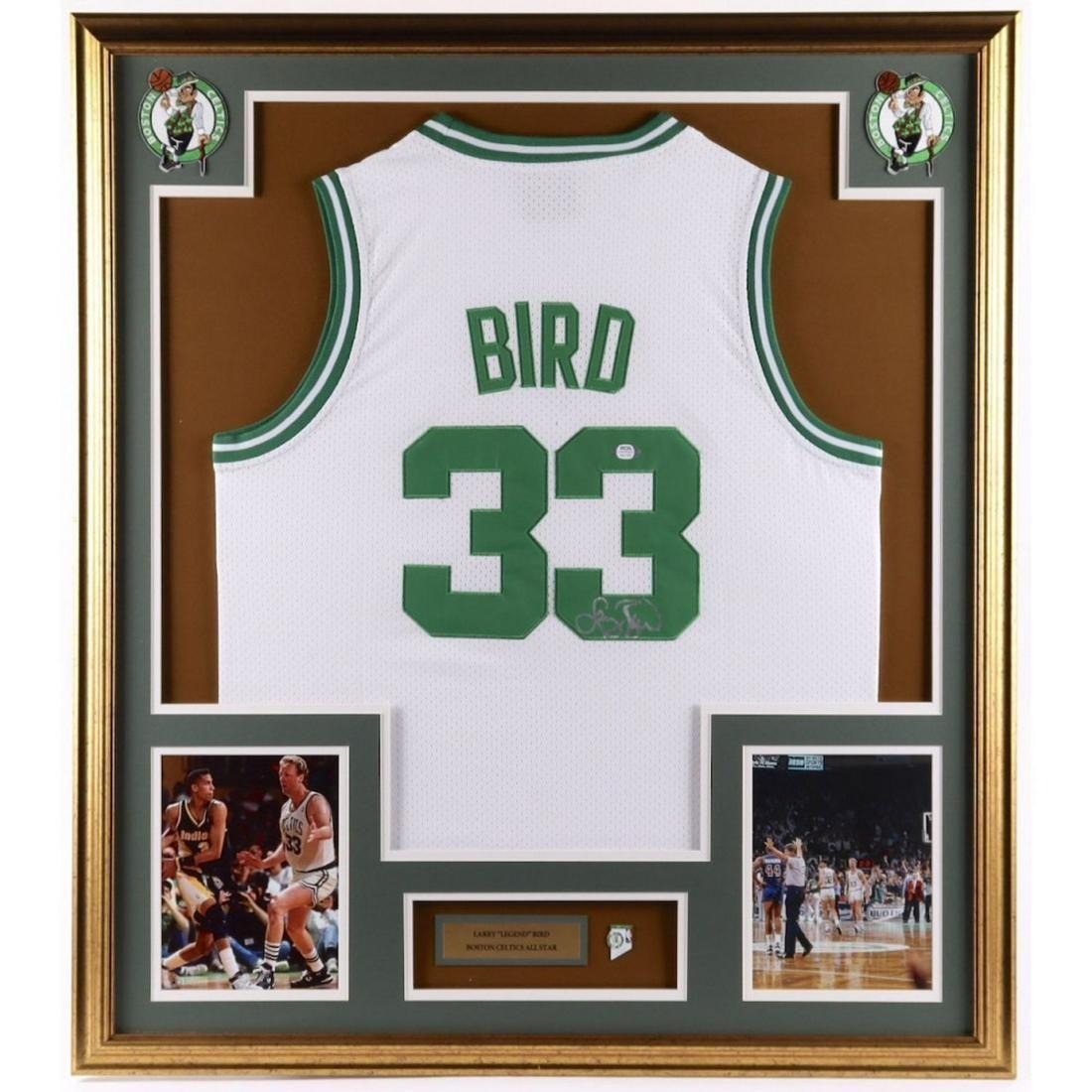 Larry Bird Signed 33x37 Custom Framed Jersey Display