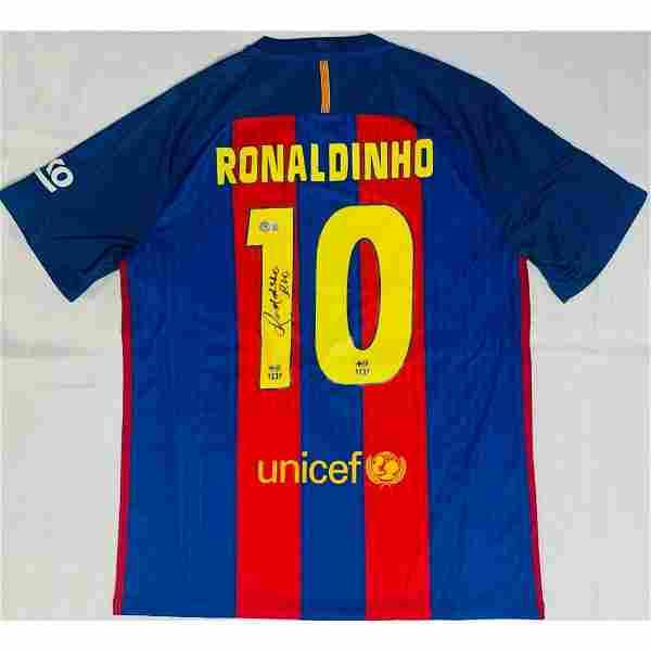 Barcelona Ronaldinho Signed Soccer Jersey BAS