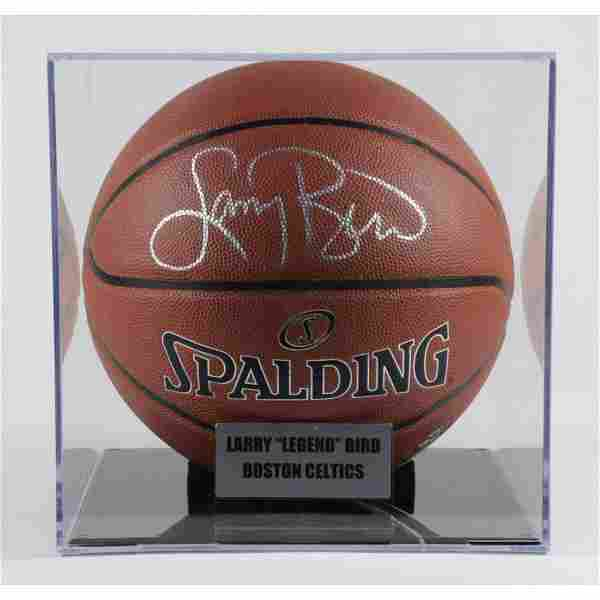 Larry Bird Signed NBA Basketball with Display Case (PSA
