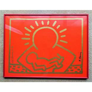 RARE KEITH HARING HAND SIGNED POSTER