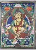A LEATHER THANGKA DEPICTING DZAMBALA - QING PERIOD