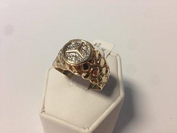 Gents 14K Diamond Mercedes Nugget Ring