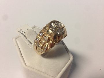Gents 14K Diamond Mercedes Nugget Ring - 2