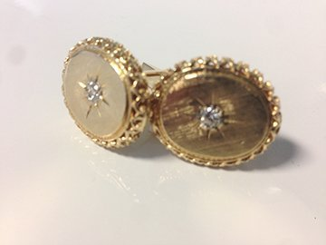 Gents 14k yellow gold and diamond cufflinks