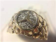 Gents 14K Diamond Mercedes Nugget Ring