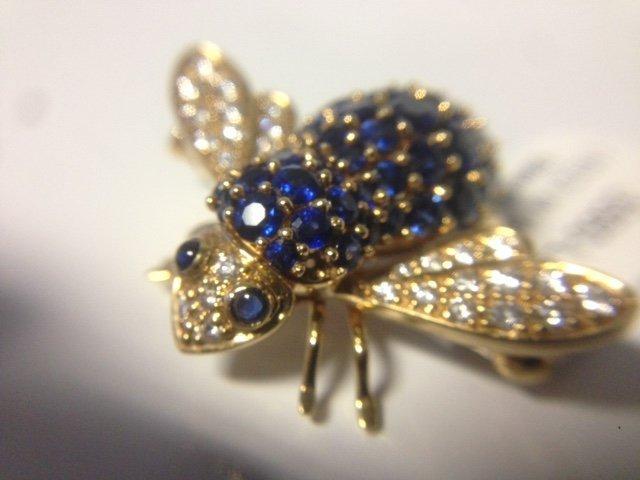 Vintage 18k, diamond & Sapphire Bumble Bee Pin