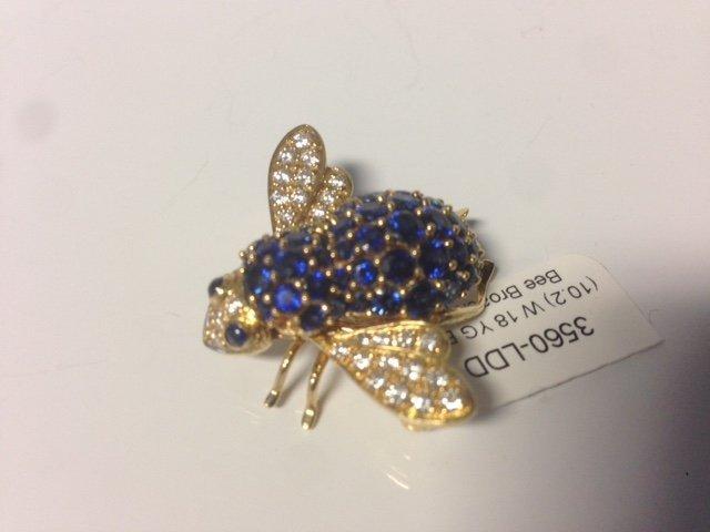 Vintage 18k, diamond & Sapphire Bumble Bee Pin - 3
