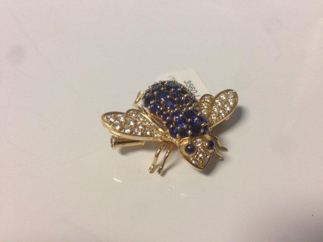 Vintage 18k, diamond & Sapphire Bumble Bee Pin - 4