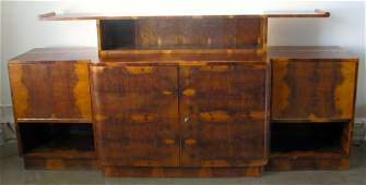 FRENCH ART DECO TWO-TIERED PALDAO BURLWOOD SIDEBOARD