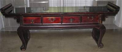ANTIQUE CHINESE ALTAR TABLE W/ CUSTOM GLASS TOP