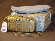 651: JUDITH LEIBER HANDBAG: GOLD BEJEWELED MINAUDIERE A