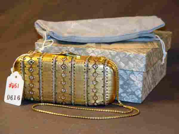 JUDITH LEIBER HANDBAG: GOLD BEJEWELED MINAUDIERE A