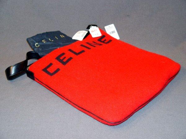 653: NEW CELINE HANDBAG: RED & BLACK KNIT TOTE-STYLE, A