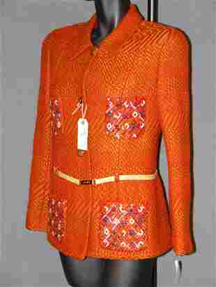 NEW CHANEL JACKET: SILK-LINED, RUST AND BROWN, WOV