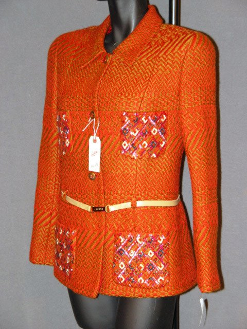 655: NEW CHANEL JACKET: SILK-LINED, RUST AND BROWN, WOV