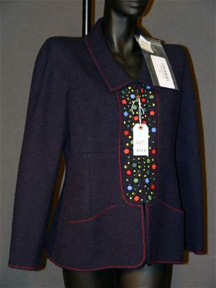 NEW CHANEL JACKET: SILK-LINED, NAVY BLUE, WOVEN WO