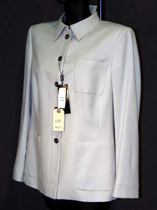 NEW AKRIS JACKET: SILK-LINED OFF-WHITE CASHMERE WI