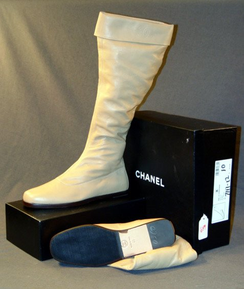 659: NEW CHANEL BOOTS: DARK BEIGE LEATHER CALF-LENGTH,