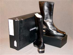 NEW CHANEL BOOTS: BLACK LEATHER CALF-LENGTH, WITH