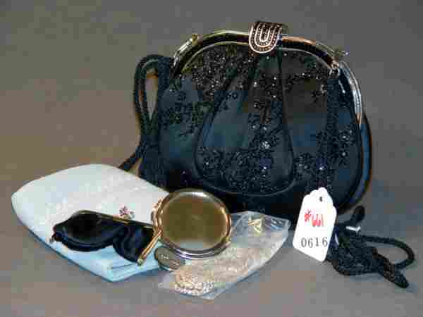 JUDITH LEIBER HANDBAG: BLACK SATIN SEQUINED BAG W