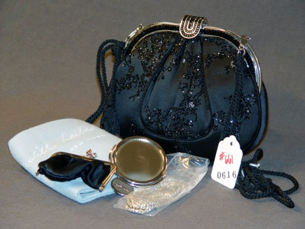 661: JUDITH LEIBER HANDBAG: BLACK SATIN SEQUINED BAG W