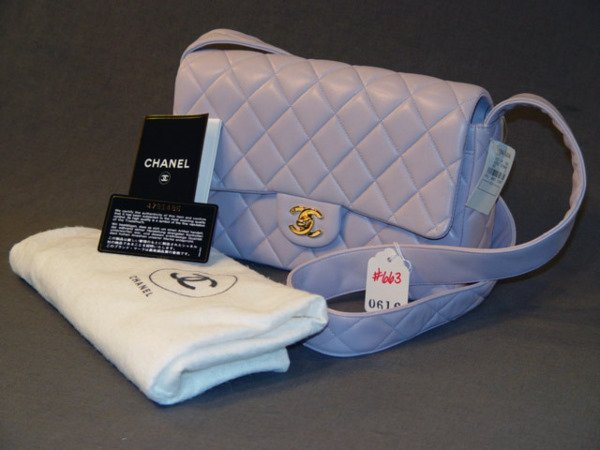 663: NEW CHANEL HANDBAG: QUILTED LAVENDER LEATHER WITH