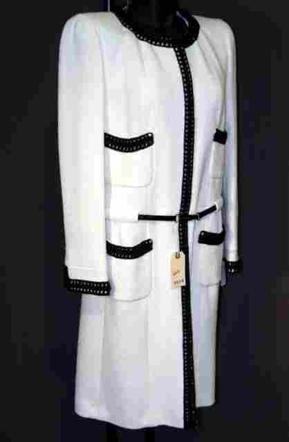 NEW CHANEL COAT DRESS: SILK-LINED, WOOL BLEND, OFF