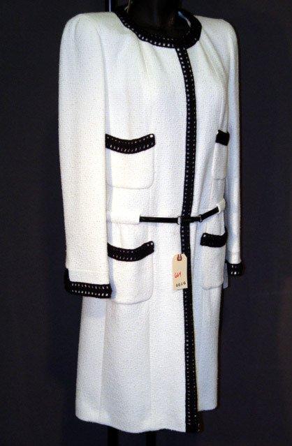 664: NEW CHANEL COAT DRESS: SILK-LINED, WOOL BLEND, OFF