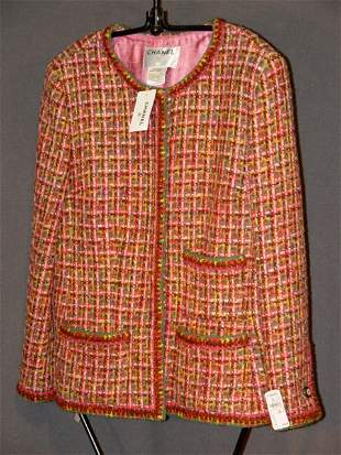 NEW CHANEL JACKET: WOVEN MULTI-COLORED WOOL BLEND