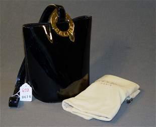 CELINE HANDBAG: BLACK PATENT LEATHER WITH GOLD SIG