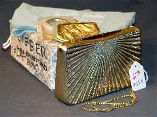 JUDITH LEIBER HANDBAG: RECTANGULAR GOLD MINAUDIERE