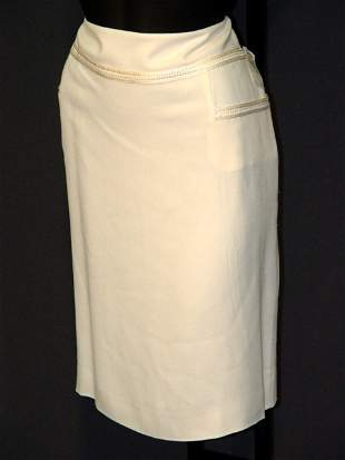 NEW CHANEL SKIRT: SILK-LINED OFF WHITE ACETATE/R