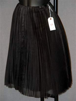 NEW CHANEL SKIRT: BLACK SILK WITH PIN PLEATED OVE