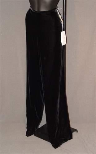 NEW ARMANI PANTS: BLACK VELVET RAYON/SILK BLEND W