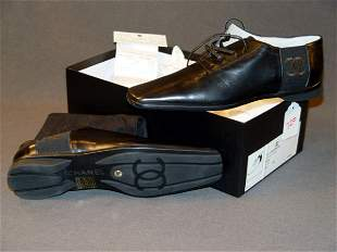 NEW CHANEL SHOES: BLACK LEATHER OXFORD-STYLE WITH