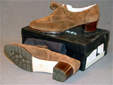 770: NEW CHANEL SHOES: BROWN SUEDE OXFORD-STYLE WITH 1