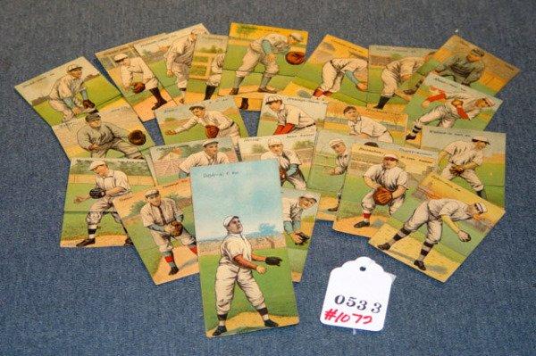 1072: LOT 29 FOLDING MECCA CIGARETTE BASEBALL CARDS