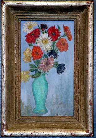 J.K. HANSEGGER (439) O/C VASE OF FLOWERS. S/LR.