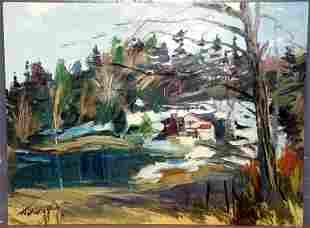 J.K. HANSEGGER (694) O/B HOUSE IN FORREST W/ PON