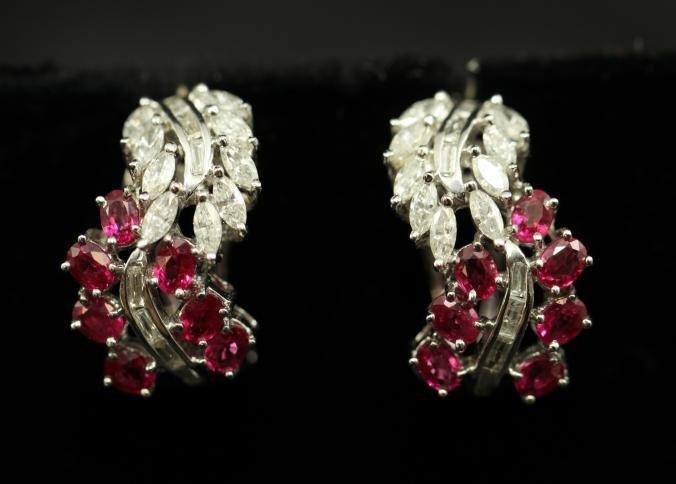 Earrings with 3+ carat diamonds 2.5ct rubies