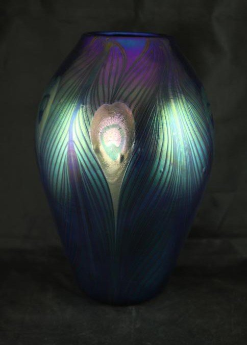 Iridescent vase with peacock marked L.C.Tiffany-Favrile
