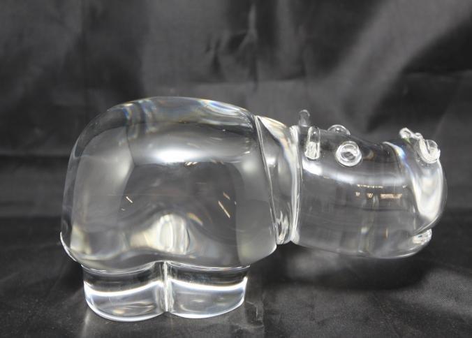 "Steuben glass hippopotamus signed ""Steuben"" in box"