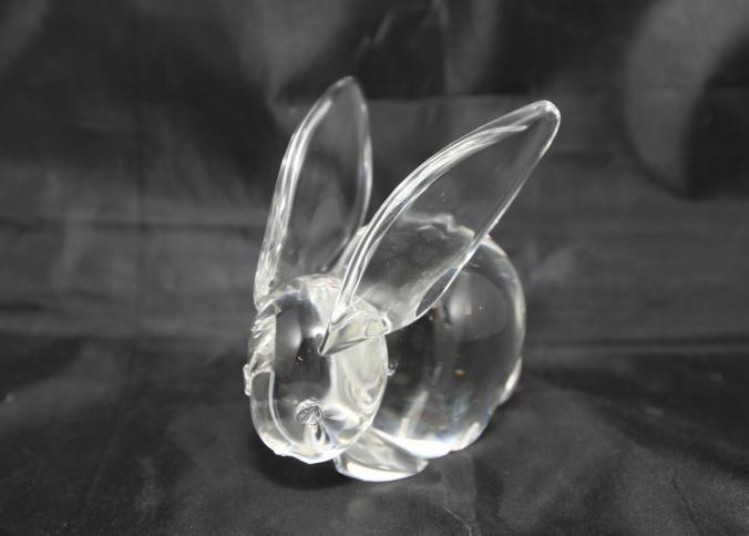 "Steuben glass large ear rabbit signed ""Steuben"" in box"