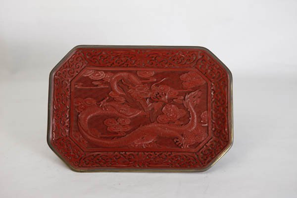 Chinese Carved Rectangular Lacquer Cinnabar Tray