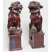 Pair of Chinese Blue-Red Glazed Fu-lions.
