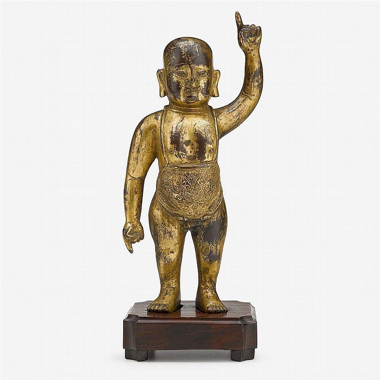 Chinese gilt-bronze infant Buddha, Ming dynasty.