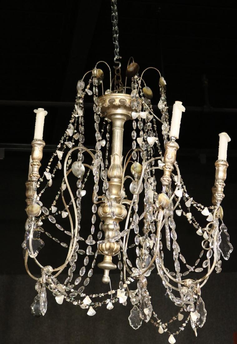 Silver-Gilt Wooden Six-Light Chandelier