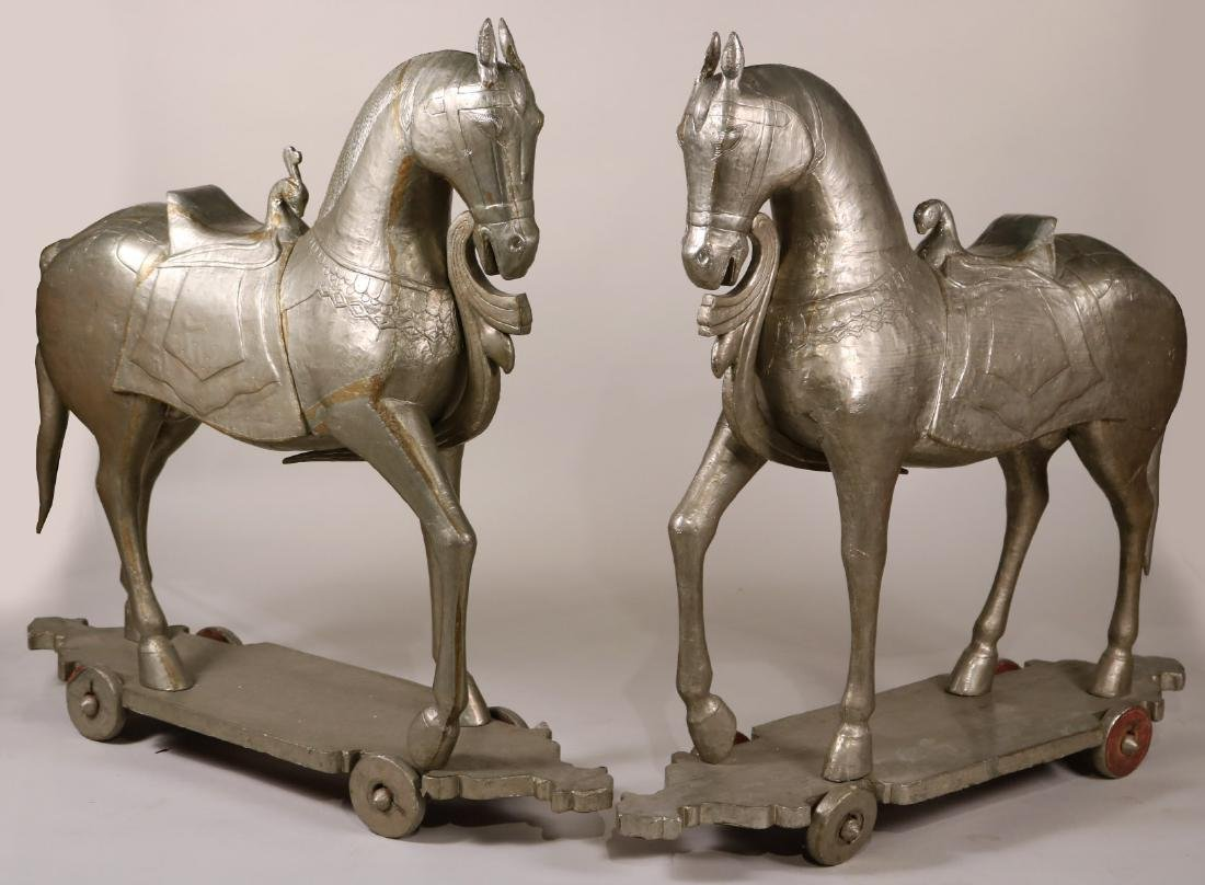 Pair of White-Metal Mounted Tang-Style Horses