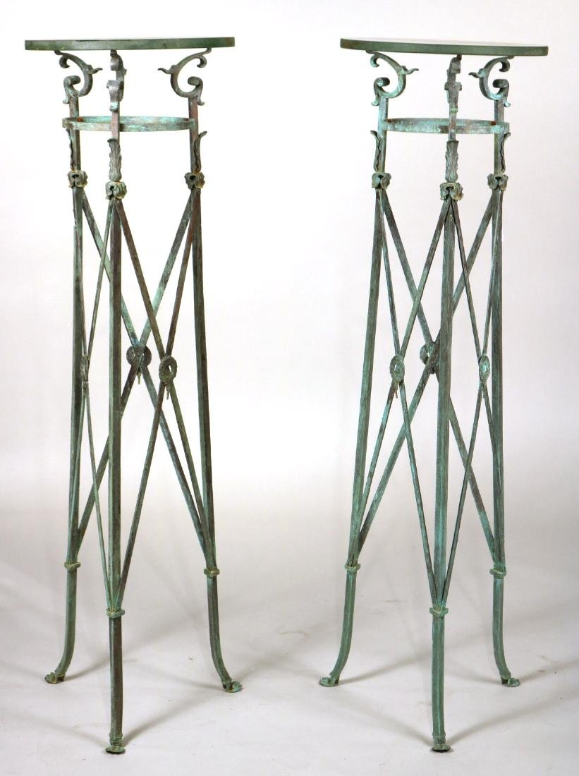 Pair of Glass-Top Bronze Regency Atheniennes